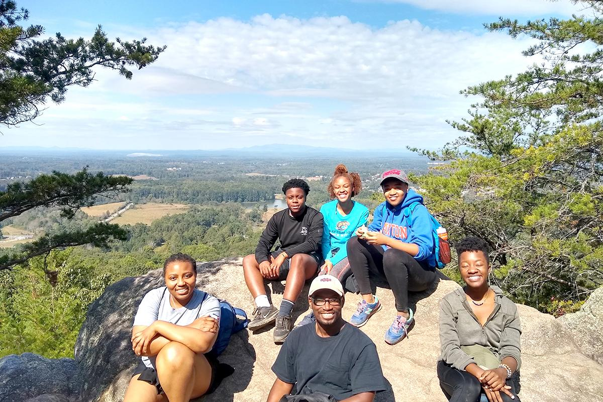 Students mountain hiking