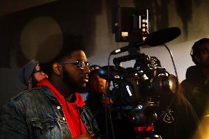 Film student David Morgan prepares to shoot with the Canon C200 cinema camera.