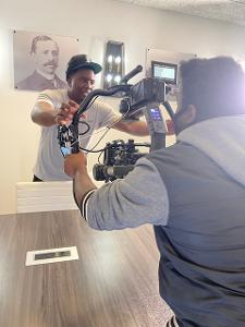 Sean Thompson, Film production major, at his internship