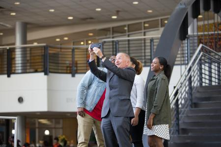 Hynes taking selfies